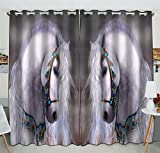 Custom Artistic White Horse Unique Window Curtain Kitchen Curtain Size 52(W) x 84(H) inches (Two Piece) For Sale