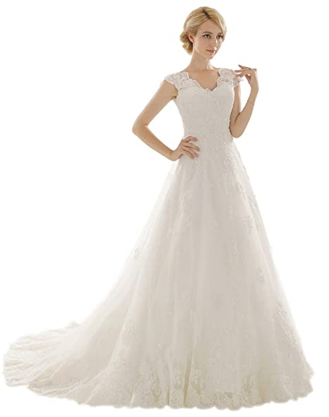 Snowskite Womens A-line V Neck Vintage Lace Wedding Dress at Amazon ...