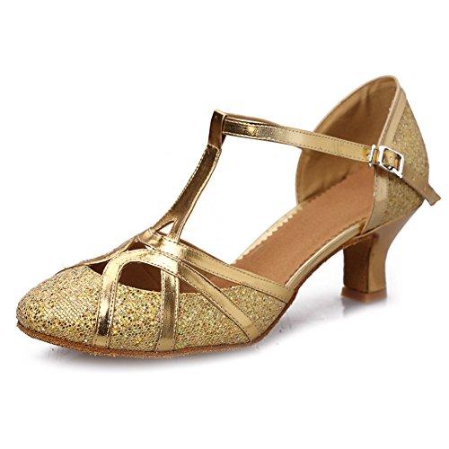 HROYL Zapatos de Baile/Zapatos Latinos de Satín Mujeres EC5-F11 Gold