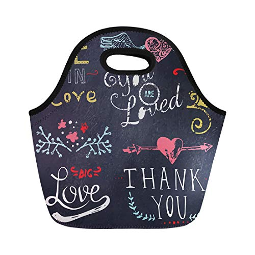 (Semtomn Lunch Bags Color Chalk Wedding and Valentine Day Doodle Floral Ornaments Neoprene Lunch Bag Lunchbox Tote Bag Portable Picnic Bag Cooler Bag)
