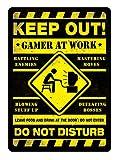 PotteLove Gamer at Work Yellow Metal Wall Sign Plaque Art Inspirational Gaming Geek Nerd Decor Novelty Art Sign Funny Aluminum Metal Tin Signs
