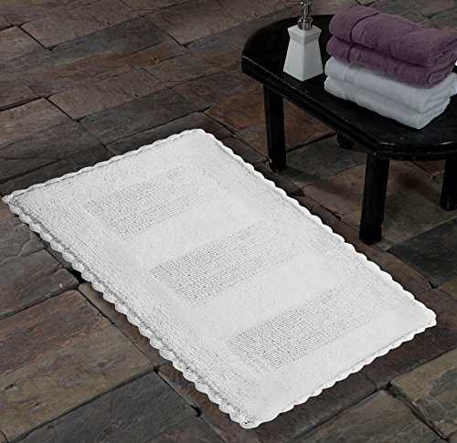 Saffron Fabs SPA Bath Rug 100% Soft Cotton 50x30 Inch Reversible Hand Woven Crochet Lace Border Color White Hand Tufted 260 GSF Weight Machine Washable Rectangular Construction