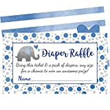 Blue Elephant Diaper Raffle Tickets - 50 Cards for Fun Boy Baby Shower Games