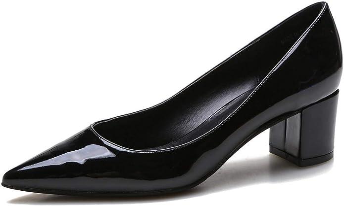 Womens Office Mayor V Neck Block Heels Black Groucho Leather Heels
