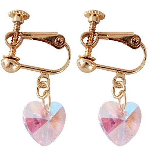 Elegant Clip on Earrings Screw Back Multicolor Love Heart Earrings Charm Girl Gold ()