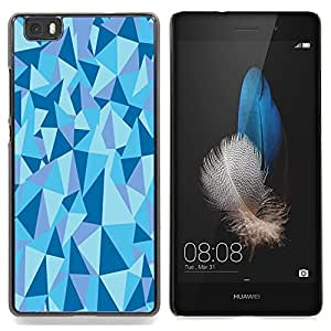 Stuss Case / Funda Carcasa protectora - Estructura Geométrico Pirámide Triángulo Azul - Huawei Ascend P8 Lite (Not for Normal P8)