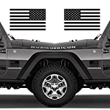 Classic Biker Gear Subdued American Flags Tactical Military Flag USA Decal Jeep 5'x3' Pair (Matte Black)