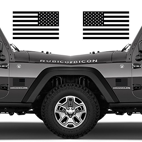 "Classic Biker Gear Subdued American Flags Tactical Military Flag USA Decal Jeep 5""x3"" Pair (Matte Black)"