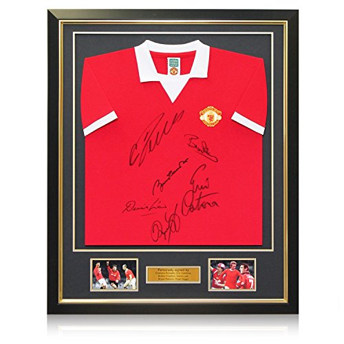 Manchester United Jersey Signed By Cristiano Ronaldo, Charlton, Cantona, Law, Robson and Giggs. In Deluxe Black Frame