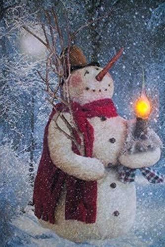 Ohio Wholesale Candlelit Snowman Woodland 16 5/8 X 11 Canvas Light up Picture 6 Hour Timer