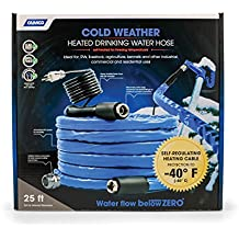 "Camco 25ft Cold Weather Heated Drinking Water Hose Can Withstand Temperatures Down to -40°F/C-  Lead and BPA Free, Reinforced for Maximum Kink Resistance, 5/8"" Inner Diameter (22922)"