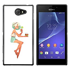 Paccase / SLIM PC / Aliminium Casa Carcasa Funda Case Cover - Girl Blonde Woman Beach Cocktail Shorts - Sony Xperia M2