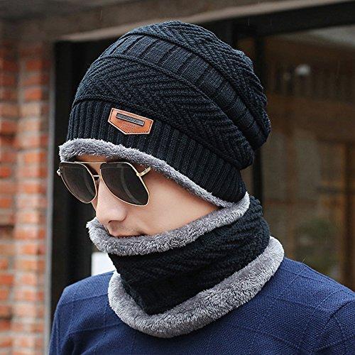 Cálido Gorra Felpa punto Negro esquí Hat de punto Invierno con Cálido Gris Navy de Slouchy Cozy Sombrero de Hombres xwHOFZqYX