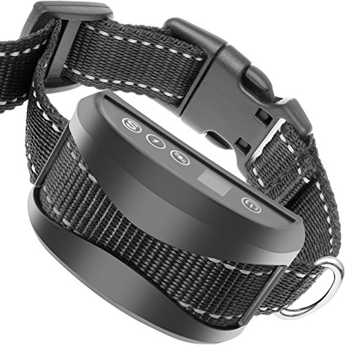 Bark Collar [2018 chip] Anti Barking Control Device Train Your Pet: Beep, Vibration and Optional NO Harm Shock with 7 Sensitivity Levels. Training for Large Medium & Small Dog Rechargeable Rainproof