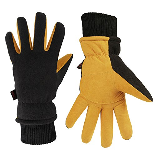OZERO Insulated Gloves Coldproof Winter Warm Glove - Deerskin Leather Palm & Polar Fleece Back with Thermal Cotton - Windproof Water-resistant hand Warmers in Cold Weather for Women Men - Tan(S)
