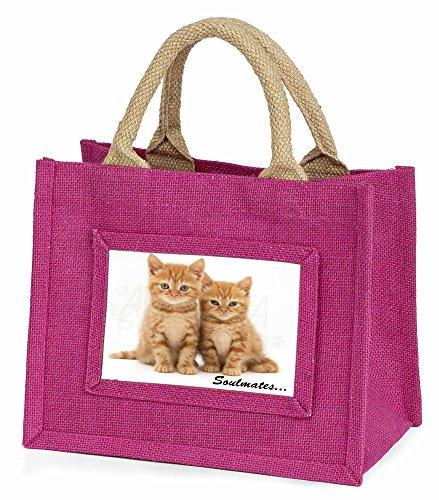 Advanta–Mini Pink Jute Tasche GINGER Kätzchen Soulmates Sentiment Kleine Mädchen Kleine Einkaufstasche Weihnachten Geschenk, Jute, pink, 25,5x 21x 2cm