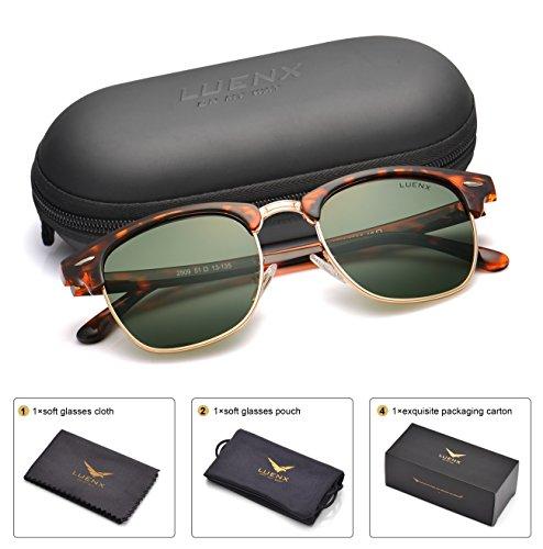 LUENX Men Clubmaster Polarized Sunglasses Women UV 400 Protection Grey Green Lens Tortoise Retro Classic Frame 51MM ,with - Clubmaster Sunglasses Men