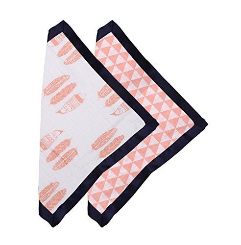 Bacati - Tribal/Aztec Cotton Muslin Fabric (Set of 2 Security Blankets, Olivia Tribal Coral/Navy)