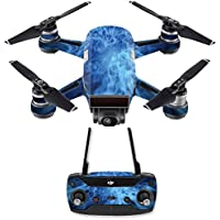 Skin for DJI Spark Mini Drone Combo - Blue Mystic Flames| MightySkins Protective, Durable, and Unique Vinyl Decal wrap cover | Easy To Apply, Remove, and Change Styles | Made in the USA