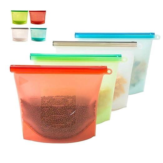 4 pcs Bolsas de silicona reutilizables,1000 ml BPA-Free Saco ...