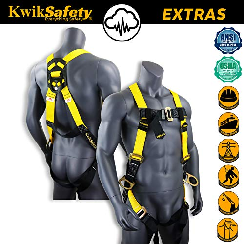 KwikSafety (Charlotte, NC) THUNDER (4 PACK) | OSHA ANSI Fall Protection Full Body Safety Harness | Personal Protective Equipment Dorsal Ring Side D-Rings | Universal Construction Industrial Roofing by KwikSafety (Image #3)