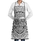 Grill Aprons Kitchen Chef Bib - SarahKen Skull Gothic Smiling Skeleton Head With Flowers Day Of The Dead Mexican Professional For BBQ Baking Cooking For Men Women Pockets