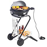 VonShef Electric Silver Indoor Grill Indoor and Outdoor BBQ Barbecue Grill with 5 Temperature Settings & Built In Thermometer Gaug
