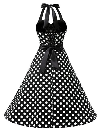 Dots Polka Audrey 50s Halter Retro Dress Dot Black Cocktail Rockabilly Dresstells® Blue OwqIHFgW
