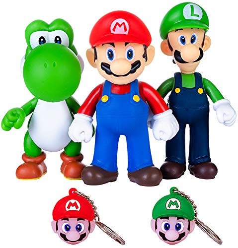 PantShop Super Mario Toys - Mario & Luigi Figurines - Yoshi & Mario Bros Action Figures - Set of 3 Mario PVC Toy Figures for Kids & Adults - Premium Cake Toppers + 2 Keychains - Great Geek Present (All The Characters In Super Smash Bros 4)