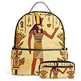 Egyptian Decor Unisex Rucksack Canvas Satchel Casual Daypack ,School College Student Backpack with Pencil Case