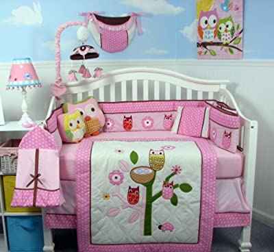 Soho Owl Tree Party Baby Crib Nursery Bedding Set With Diaper Bag 13 Pcs Set from SoHo Designs