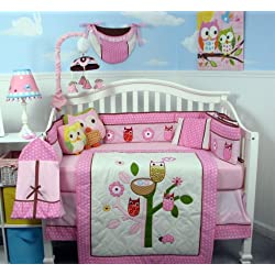 SoHo Owl Tree Party Baby Crib Nursery Bedding Set with Diaper bag 13 pcs set Pink and White