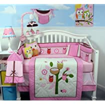 SoHo Owl Tree Party Baby Crib Nursery Bedding Set with Diaper bag 13 pcs set