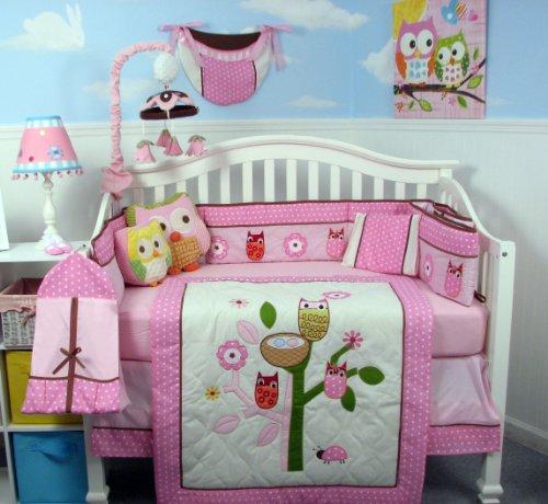SoHo Owl Tree Party Baby Crib Nursery Bedding Set with Diaper bag 13 pcs set
