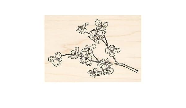 Flowering Dogwood Tree Branch Rubber Stamp