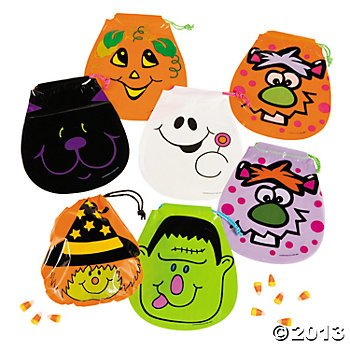 Halloween Drawstring Goody Bags (72 Bags!)Monsters, Ghosts and Witches...Oh My!!