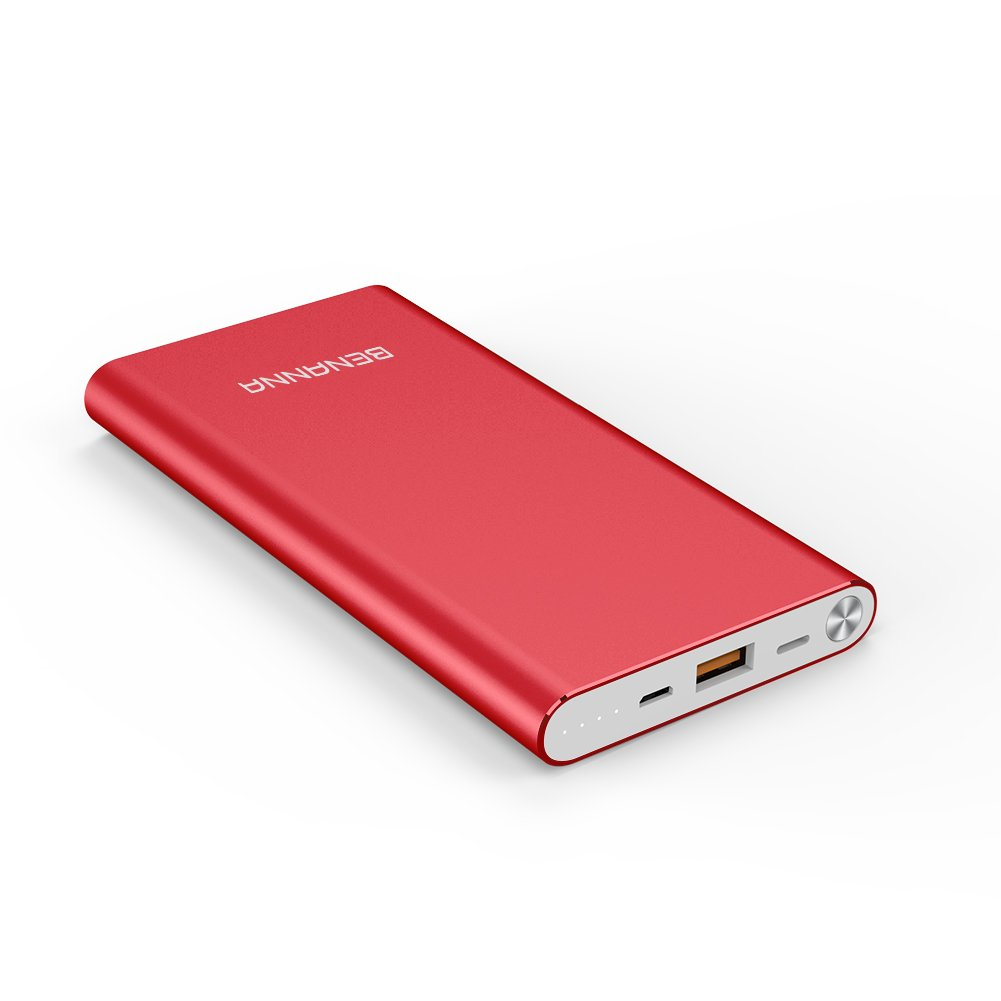 Portable Charger 10000mAh Lightning & Micro-USB Input Power Bank External Battery Pack BENANNA for iPhone X 8 7 6 5 Plus Se iPad Android Cell Phone Samsung Galaxy Note LG Gopro and More - Red