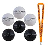 Champion Sports Rhino Skin Dodgeball Set Black / White (Set of 6) with 1 Performall Lanyard RXD8BWSET-1P