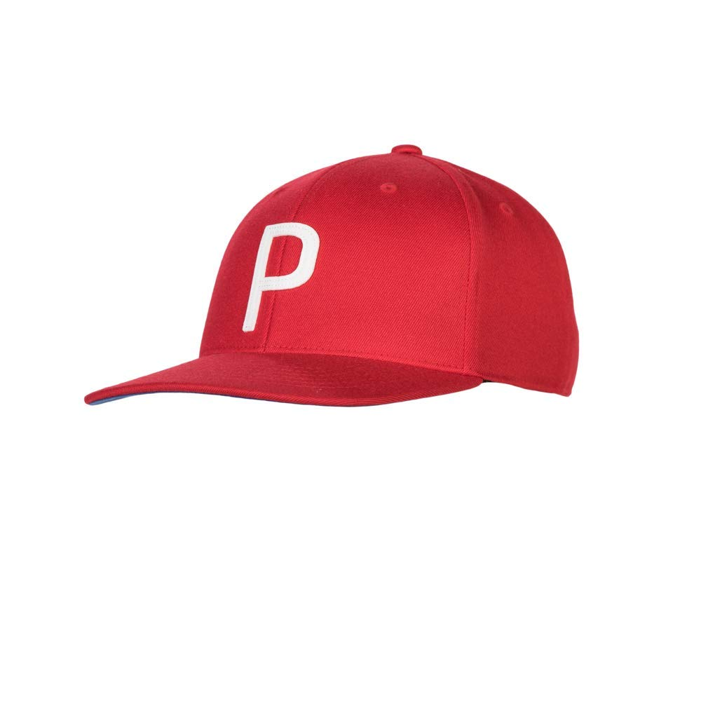 Puma Golf 2018 ''P'' Snapback Hat (One Size), Bright White/Musial Red