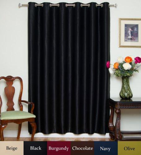 Blackout Curtain Black Wide Width Nickel Grommet Top Thermal