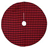 Honeystore 48inches Red and Black Plaid Christmas Tree Skirt New Year Party Floor Cover Xmas Indoor Decor Xmas Tree Skirt Ornament Home Decoration Color03