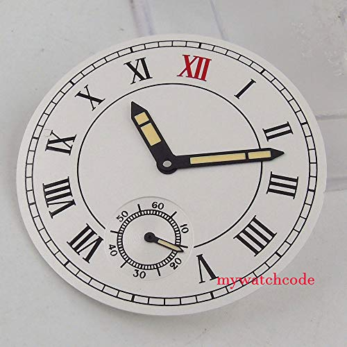 Pukido 38.9mm white dial Roman numeral mark fit ETA 6498 ST3620 mens watch (Dial+hands)