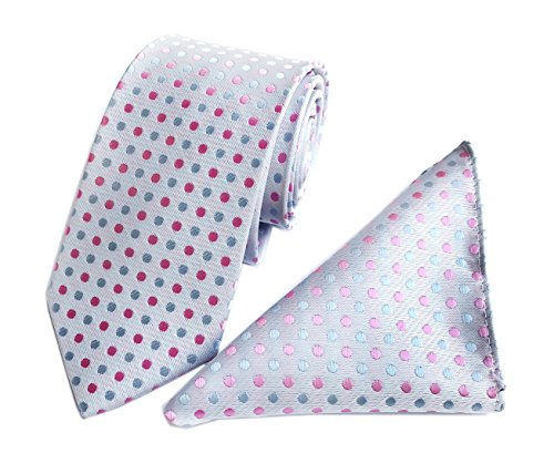 Silk Dress Dotted - White Rose Red Blue Silk Casual Neckwear Neckties and Pocket Square Set for Men