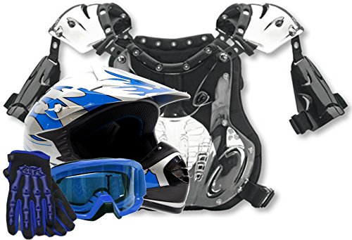 Atv Chest Protector (Kids Youth Offroad Helmet Gloves Goggles Chest Protector GEAR COMBO Motocross ATV Dirt Bike MX Blue (Large))