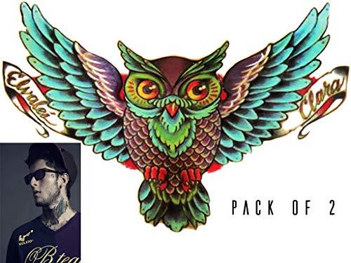 Novu Ink Owl Temporary Tattoos | PACK OF 2 | Fake Tattoos | Art Design Transfers/Stickers | For Body, Arm, Leg etc | (16.5cm x 12cm)]()