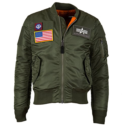 Alpha Industries Men's MA-1 Slim Fit Flex Flight Bomber Jacket, Sage Green, Small