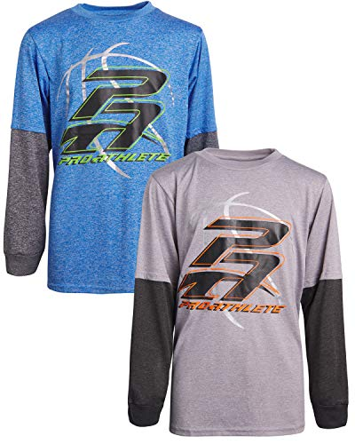 'Pro Athlete Boys Long Sleeve Performance Athletic T-Shirts (2 Pack), Pro Athlete, Size 14/16' (For Long Sleeves Teens)