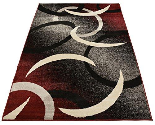 (Comfy Collection Samba Circles Design Area Rug Modern Contemporary Rug (Red Grey, 2' X 3'3