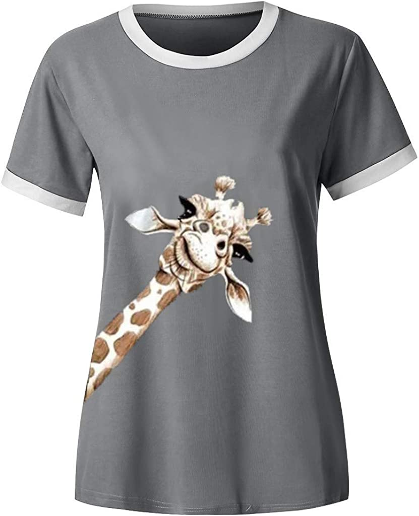 Forwelly Womens T Shirt Giraffe Animal Print Summer Casual Short Sleeve Crewneck Pullover Top Blouse
