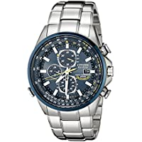Citizen AT8020-54L Eco Drive Chronograph Blue Dial Silver Tone Strap Men's Watch